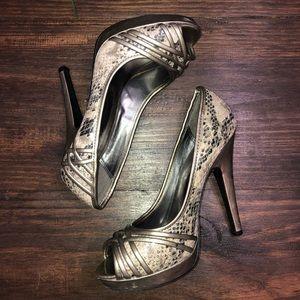 Icora snakeskin heels, gold/black/ivory, size 7.5